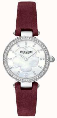 Coach 女式现代奢华酒红色皮革表带珍珠贝母 14503102