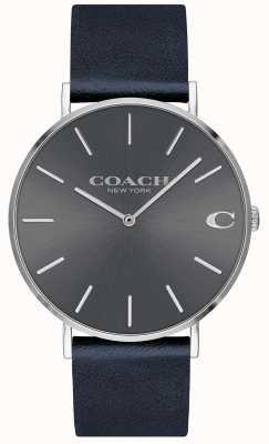 Coach 男士查尔斯海军蓝色表带灰色表盘 14602150