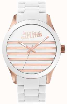 Jean Paul Gaultier Enfants可搭配男女皆宜的白色和玫瑰金橡胶手表 JP8501126
