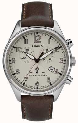 Timex 男士waterbury传统棕褐色chrono棕色皮革 TW2R88200