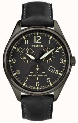 Timex 男士waterbury传统黑色计时黑色皮革 TW2R88400