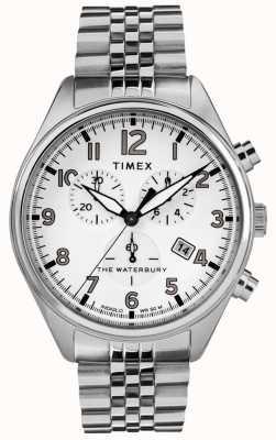Timex 男士waterbury传统白色计时钢手链 TW2R88500