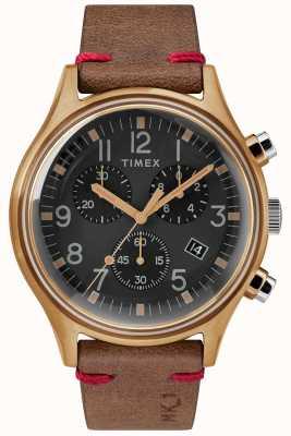 Timex 男士mk1 sst chrono 42毫米古铜色表壳黑色表盘棕色表带 TW2R96300