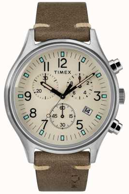 Timex 男士mk1 sst chrono 42毫米表壳棕色皮表带 TW2R96400