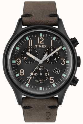 Timex 男士mk1 sst chrono 42毫米黑色表壳黑色表盘 TW2R96500
