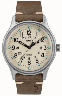 Timex 男士mk1 sst chrono 40毫米表壳棕色皮表带 TW2R96800