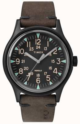 Timex 男士mk1 sst chrono 42毫米黑色表壳黑色表盘棕色表带 TW2R96900