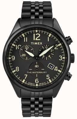 Timex 沃特伯里传统计时码表黑色手表 TW2R88600D7PF