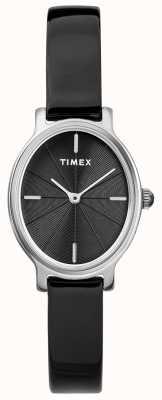 Timex 女士米兰椭圆形银色网眼表黑色表盘 TW2R94500D7PF