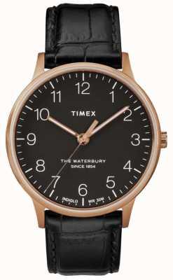 Timex Waterbury男士经典玫瑰金表黑色皮表带 TW2R96000