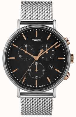 Timex Fairfield计时码表银色表款黑色表盘 TW2T11400D7PF
