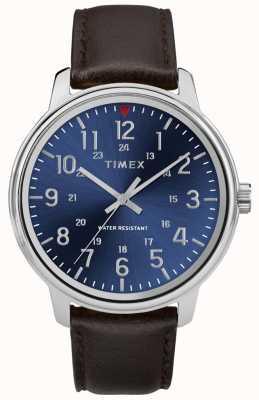 Timex 男士大都会棕色皮革表蓝色表盘 TW2R85400