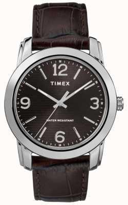 Timex 男士棕色皮革鳄鱼皮表带黑色表盘 TW2R86700