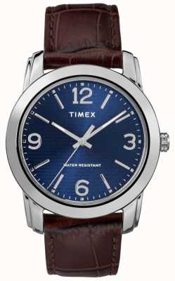 Timex 男士棕色皮革鳄鱼皮表带蓝色表盘 TW2R86800