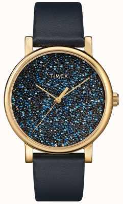 Timex 这款女士蓝色皮革腕表饰有施华洛世奇水晶 TW2R98100D7PF