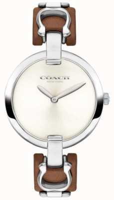Coach 女式chrystie棕色皮革和钢表带手表 14503090