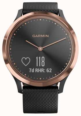Garmin Vivomove hr活动追踪器黑色橡胶玫瑰金表壳 010-01850-06