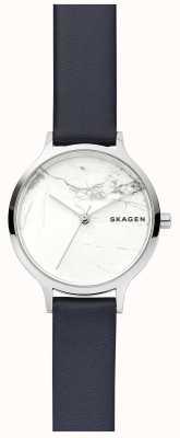Skagen 女式白色大理石表盘皮表带 SKW2719