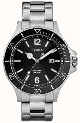 Timex 男士海港不锈钢表链黑色表盘 TW2R64600
