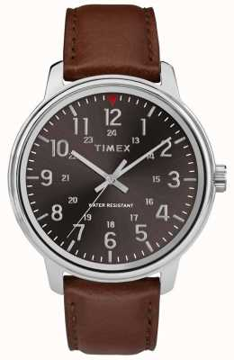 Timex 男士经典棕褐色皮革黑色表盘 TW2R85700