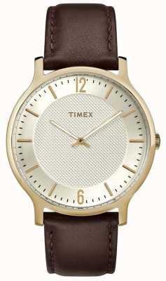 Timex 男士都市手表40毫米棕色皮革金色表盘 TW2R92000