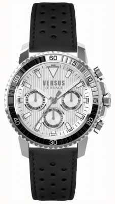 Versus Versace 男士阿伯丁黑色真皮表带银色表盘 S30010017