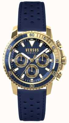 Versus Versace 男士阿伯丁蓝色皮革表带蓝色表盘 S30020017