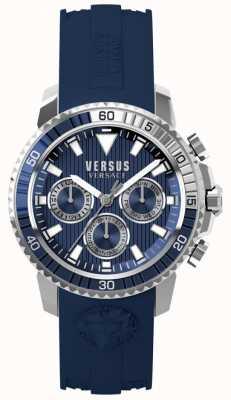 Versus Versace 男士阿伯丁蓝色硅胶表带蓝色表盘 S30040017