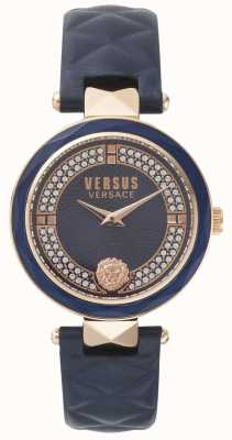 Versus Versace 女式covent花园蓝色皮革表带蓝色石材表盘 SPCD280017
