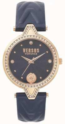Versus Versace 女装v与石头蓝色表盘蓝色皮革表带 SPCI340017