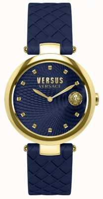 Versus Versace 女式浅蓝色海蓝色表盘蓝色皮表带 SP87030018