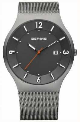 Bering 男士太阳能灰色表盘不锈钢网眼表带 14440-077