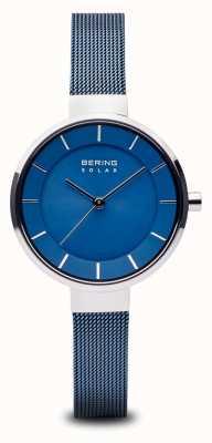 Bering 女式太阳能,阳光表盘,银色表壳,蓝色网眼表带 14631-307