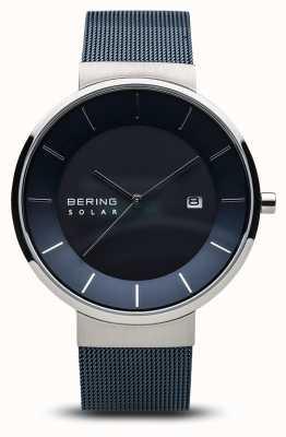 Bering 男士太阳能手表,蓝色表面不锈钢蓝色网眼表带 14639-307