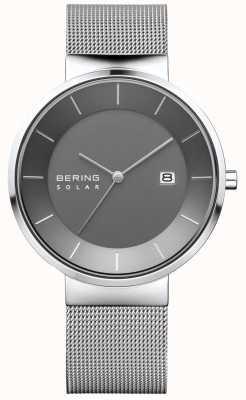 Bering 男士太阳能手表,银色表壳,不锈钢网眼表带 14639-309
