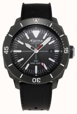 Alpina 男士seastrong潜水员gmt黑色橡胶表带 AL-247LGG4TV6
