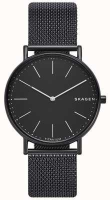 Skagen 男士signatur不锈钢黑色网状手链黑色表盘 SKW6484
