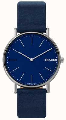 Skagen 男士signatur蓝色皮革表带钛金属表壳蓝色 SKW6481