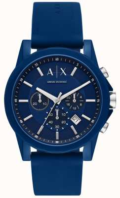 Armani Exchange 男士运动手表礼品套装|蓝色硅胶带| AX7107