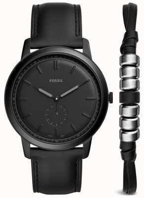 Fossil 男士极简主义手表礼品套装黑色皮革表带 FS5500SET