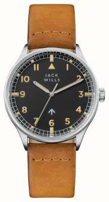 Jack Wills 男士露营黑色表盘棕色皮表带 JW001CASS