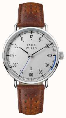 Jack Wills 男士acland银色表盘棕色皮表带 JW003SLBR