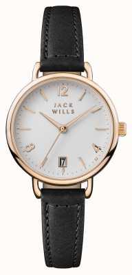 Jack Wills 女装onslow白色表盘黑色皮革表带 JW006BKRS