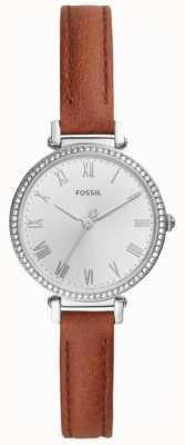 Fossil 女式棕色皮革不锈钢白色表盘 ES4446
