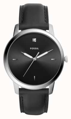 Fossil 男士黑色皮表带不锈钢表壳黑色表盘 FS5497