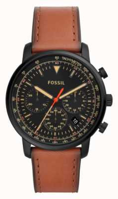 Fossil 男士计时码表棕色皮革不锈钢黑色表盘 FS5501