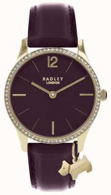 Radley 女士们观看紫色皮革表带金色表壳 RY2708