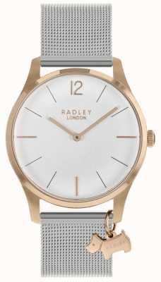 Radley 女士腕表玫瑰金表壳银色网眼表带 RY4355