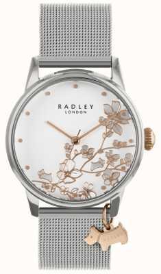 Radley 女士们|不锈钢银网手链|白色表盘| RY4347