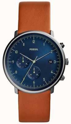 Fossil 男装追逐棕色皮革表带蓝色表盘 FS5486